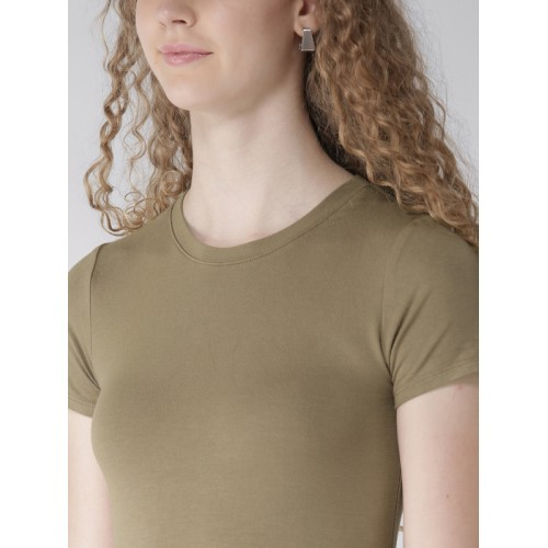 FOREVER 21 Women Olive Green Solid Mini T-shirt Dress