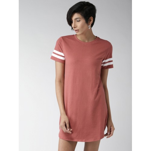 c2663d22099b Buy FOREVER 21 Women Dusty Pink Solid T-shirt Dress online