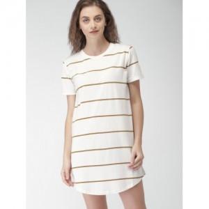 FOREVER 21 Women Off-White Striped T-shirt Dress