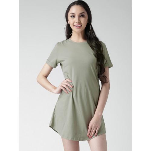 78226cdf5192 Buy FOREVER 21 Women Olive Green Solid T-shirt Dress online ...
