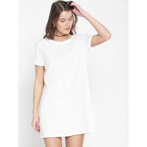 03d88e3381f5 Buy FOREVER 21 Women White Solid T-shirt Dress online | Looksgud.in
