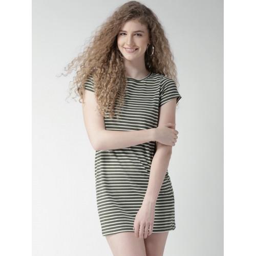 07b8e53801e4 Buy FOREVER 21 Women Olive Green Striped Mini T-shirt Dress ...