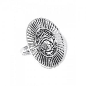 PRITA Oxidised Silver-Plated Textured Adjustable Ring