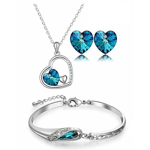 YouBella Heart Shape Austrian Crystals Pendant Set & Bangle Bracelet Combo