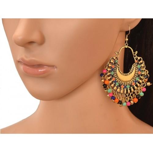 Bsquare Oxidized Gold Fancy Tribal Dangler Brass Chandbali Earring