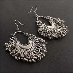 2255d64ea Zephyrr Fashion Oxidized Ethnic Silver Beaded Chandbali Earrings Women  Alloy Dangle Earring