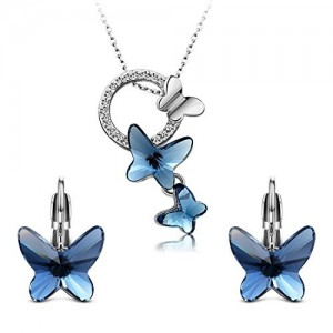 Yellow Chimes Swarovski Crystal Montana Blue Butterfly Pendant Set