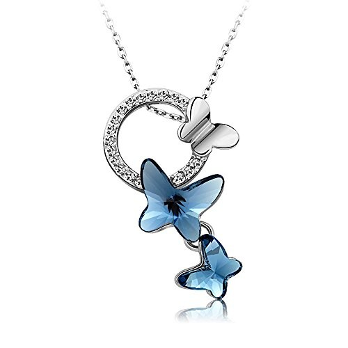 Yellow Chimes Swarovski Crystal Montana Blue Butterfly Pendant Set