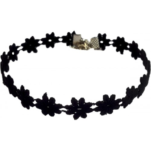 AMSER Black Fabric Choker Necklace - Pack of 3