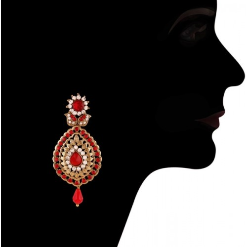 I Jewels Traditional Gold Plated Stone Alloy Chandbali Earring