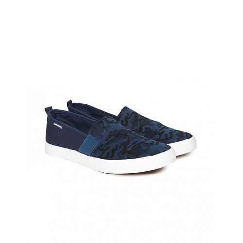 396e2f04b8b Buy Flying Machine Navy Blue Camouflage Canvas Slip On Shoes online ...