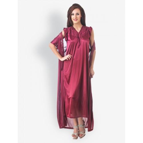 28f3e50cc986 Fasense Wine Coloured Nightdress   Robe Set  Fasense Wine Coloured  Nightdress   Robe ...