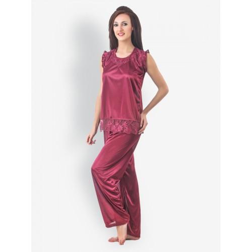 98ca14abb811 Buy Fasense Wine Coloured Nightdress   Robe Set online