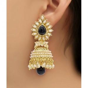 Shining Diva Bollywood Movie Aashiqui 2 Inspired Beads Polki Black Pearl Alloy Jhumki Earring