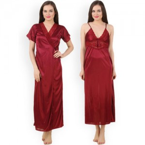 Fasense Maroon Nightdress with Robe GT005D2