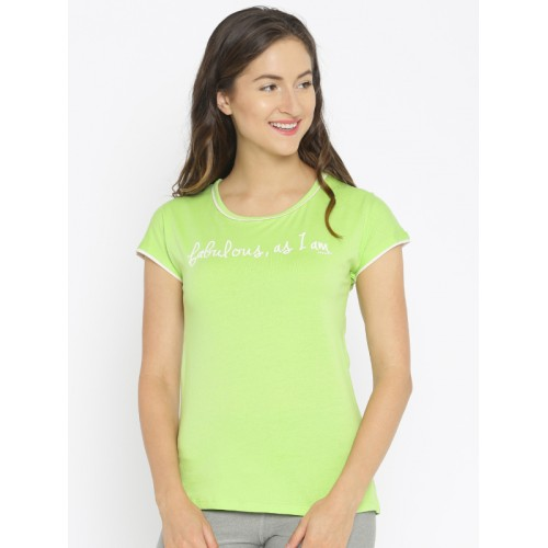 Enamor Green Printed Sleep Shirt