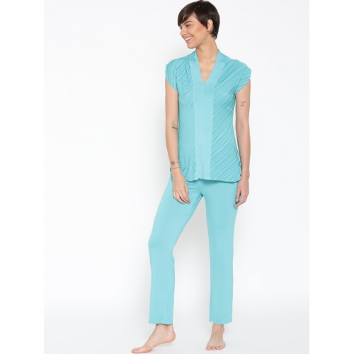 Enamor Blue Self-Striped Night Suit TP40