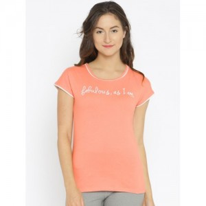 Enamor Peach-Coloured Printed Sleep Shirt