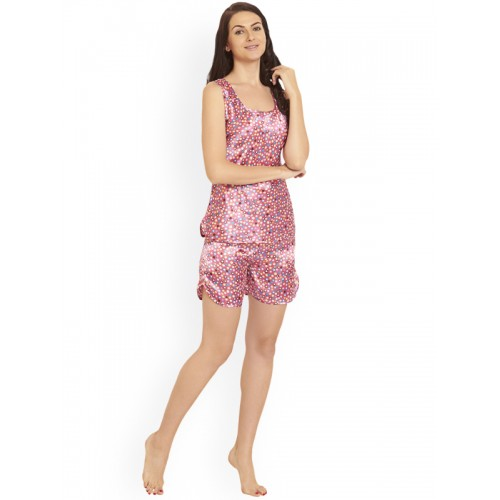 Blush by PrettySecrets Pink Printed Night Suit PS0717STSE3