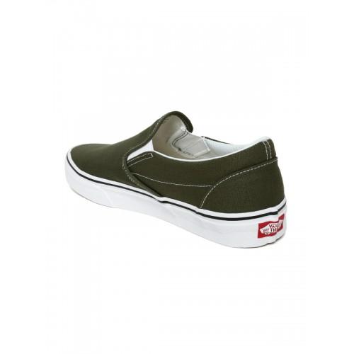 4fb50a2374 Buy Vans Unisex Olive Green Classic Slip-On Sneakers online ...