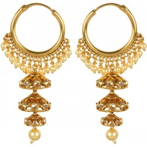 Muchmore Attractive Gold Plated Party Wear Jewellery Alloy Jhumki Earring