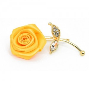 Verceys Handmade Polyester Yellow Rose Golden Leaf Lapel Men Brooch Boutonniere Tuxedo Pin Suit Wedding Corsage Brooch