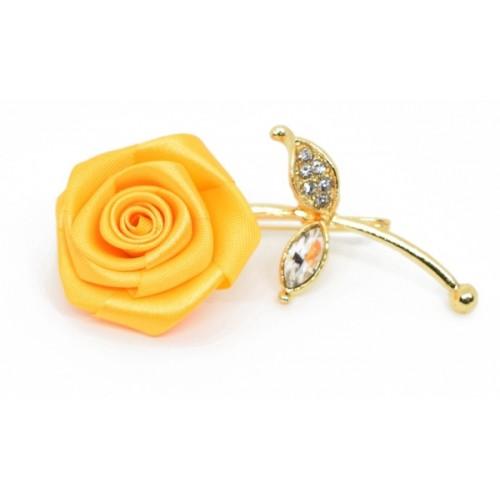 b80342a95 ... Verceys Handmade Polyester Yellow Rose Golden Leaf Lapel Men Brooch  Boutonniere Tuxedo Pin Suit Wedding Corsage ...
