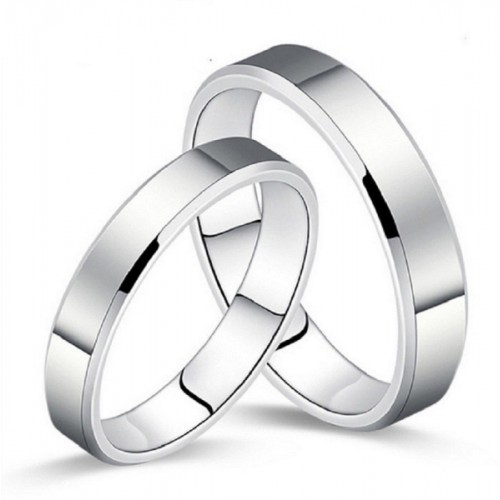 Aaishwarya Silver Love Couple Band Stainless Steel Ring Set