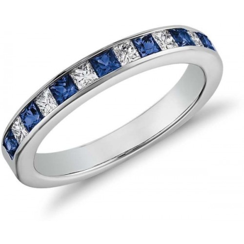 RM Jewellers 92.5 Band Silver Cubic Zirconia, Sapphire Platinum Plated Ring