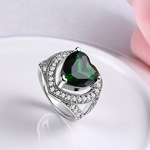 Yellow Chimes Cocktail Heart Ring for Women (Green)