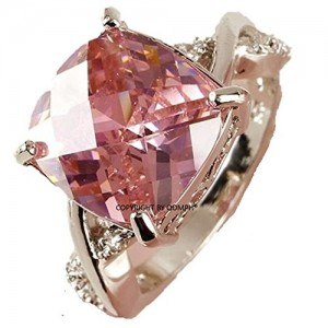 OOMPH Pink Solitaire Crystal Engagement Ring For Women
