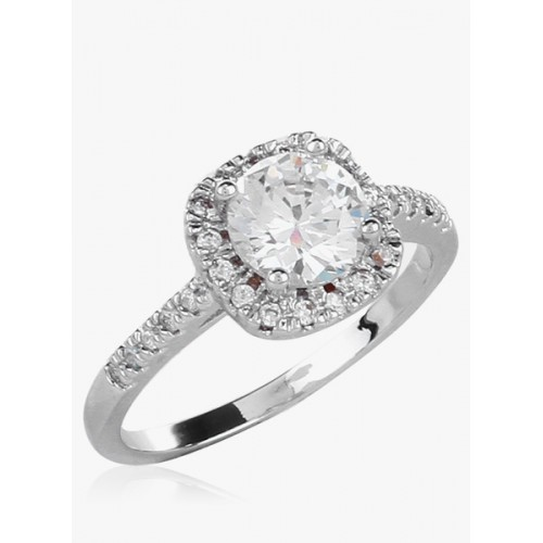 OOMPH Silver Solitaire Crytsal Ring for Women