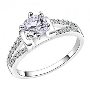 Peora Silver Plated Studded Crystal Cocktail Ring for Women