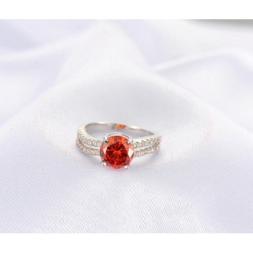 Aaishwarya Red Cocktail Ring Platinum Plated Ring