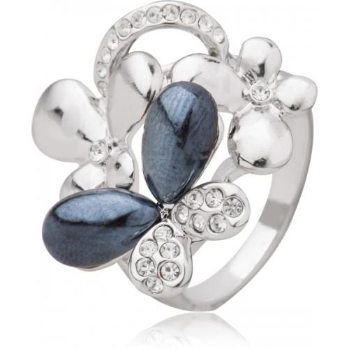 Shining Jewel Cocktail Brass Cubic Zirconia Rhodium Plated Ring