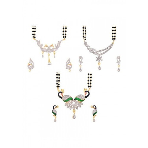 dbe1d33564 Buy Zeneme Zeneme Women's Pride Peacock Design Mangalsutra Combo with Chain  for Women online | Looksgud.in