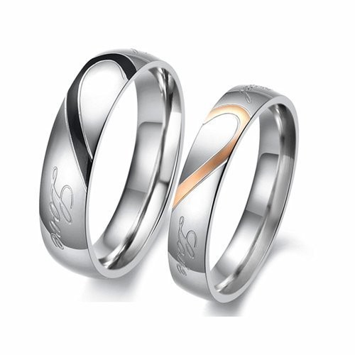 Moneekar Jewels Stainless Steel Band Rings Couples Rings