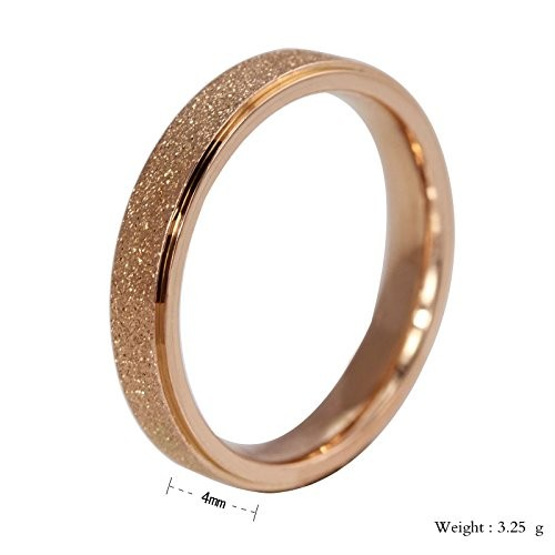 Asma Stainless Steel 6mm Rose Gold Band Ring for Women
