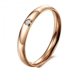 Aaishwarya Rosegold Crystal Stainless Steel Band Ring For Women