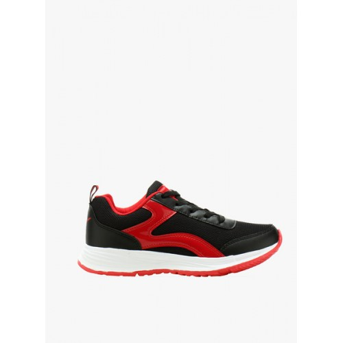 Sparx Black & Red Synthetic Lace Up Sports Shoes