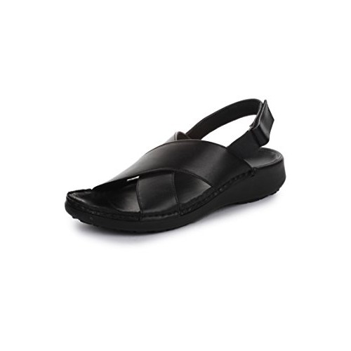 34ba9bc6039cc Buy Coolers Black Men s Leather Sandals and Floaters online ...