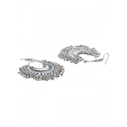 Zaveri Pearls Oxidised Silver-Toned & Blue Crescent Shaped Chandbalis