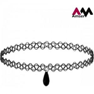 AMSER Black Plastic Choker Necklace