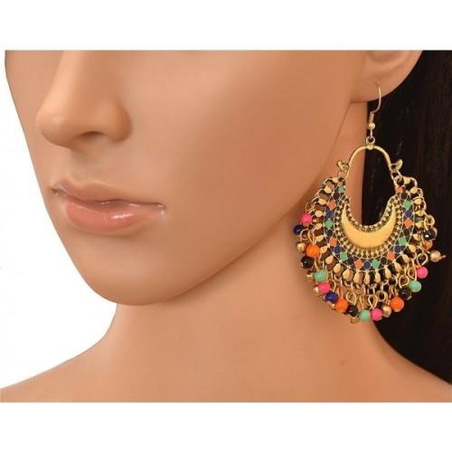 BNB Oxidized Gold Fancy Tribal Brass Chandbali Earring
