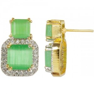 Muchmore Beautiful Square Cut Stone Green Fashion Earring For Women Gift Jewelry Alloy Drop Earring