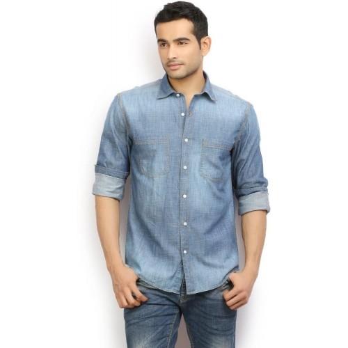 bca3f48461 Buy I-Voc Ice Blue Full Sleeves Washed Denim Shirt online ...