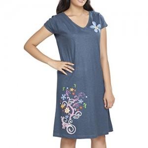 Clifton Womens Grey Long Top Nightwear-Floral - Navy Melange