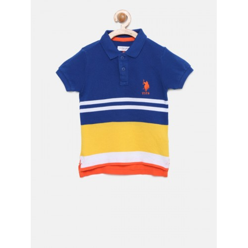 9c79ebe8231 Buy U.S. Polo Assn. Kids Boys Navy   Yellow Striped Polo T-shirt ...