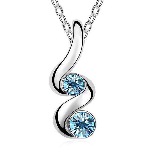 Silver Shoppee Rhodium Plated Swarovski Crystal Alloy Pendant