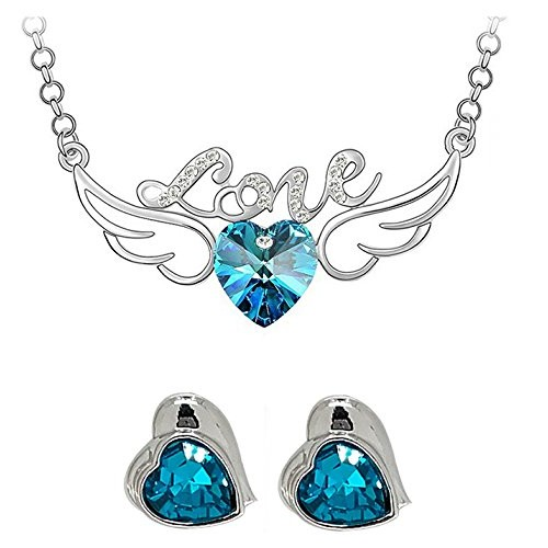 YouBella Silver Blue Alloy Heart Shape Pendant set